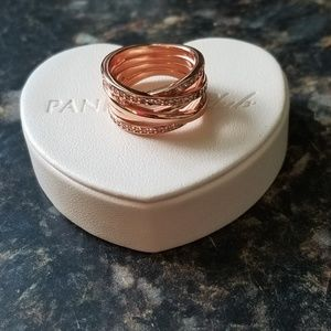 Authentic pandora rose entwined  ring